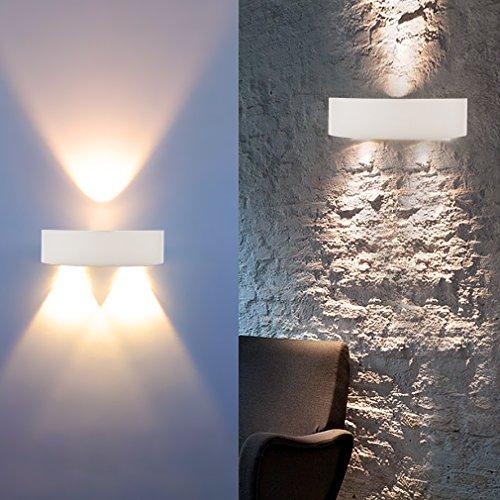 Auralum® Modern Designerlampen LED Wandleuchte| 3W Warmweiß 300LM 2800-3200K| Elegent Innenräume Wandlampe Flurlampe Treppenleuchten Deckenleuchte Lampe für Whonzimmer Schlafzimmer(Weiß/Halbkreis)