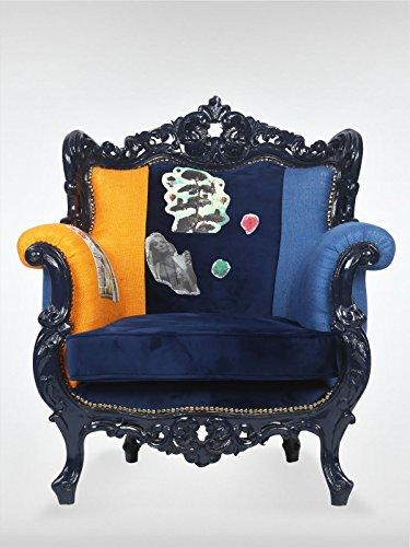 Barrock Vintage Loungesessel Sessel Ohrensessel 87 x 80 x 93 cm schwarz blau Cocktailsessel aus Walnuss roomeo24®