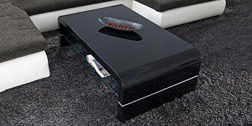 Couchtisch schwarz Hochglanz mit Glasplatte Malaga 120x70cm Wohnzimmertisch