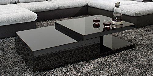 Couchtisch schwarz Hochglanz mit Schublade Clara 120x70cm Wohnzimmertisch