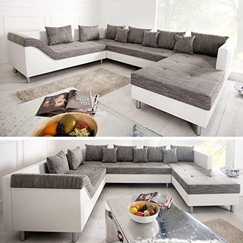Große XXL Wohnlandschaft SULTAN weiß grau charcoal Couch Recamiere links Ottomane rechts