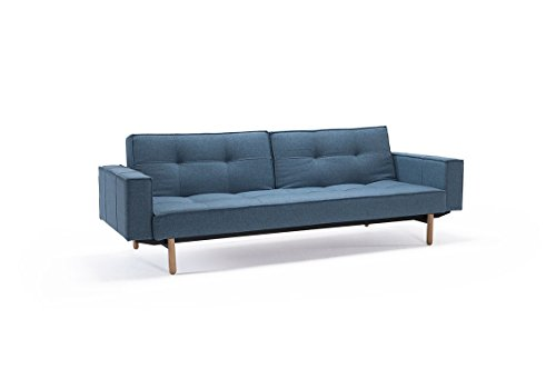 Innovation - Splitback Schlafsofa mit Armlehne - blau-grau - Mixed Dance - Chrom - Per Weiss - Design - Sofa