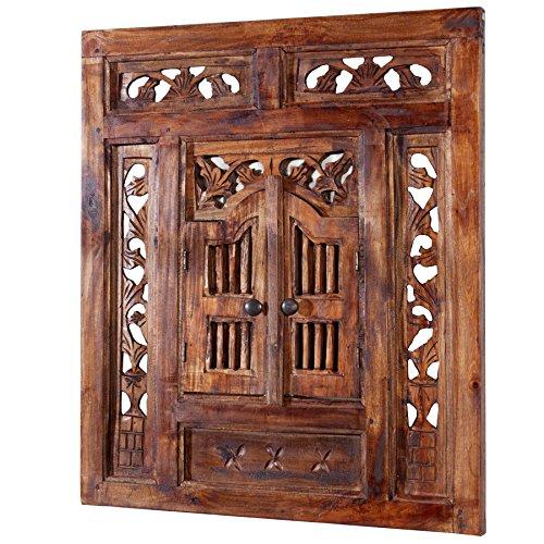 Orientalischer Spiegel SECRET WINDOW braun natur mit Schnitzereien 70cm Handarbeit