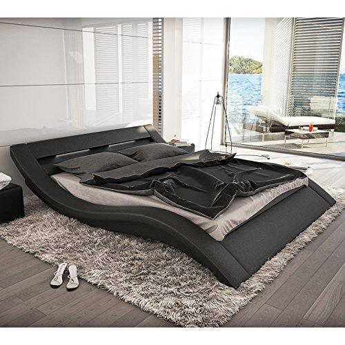 Polster-Bett 180x200 cm schwarz aus Kunstleder mit LED-Beleuchtung | Kool | Das Kunstleder-Bett ist ein Designer-Bett | Doppel-Betten 180 cm x 200 cm in Kunstleder, Made in EU