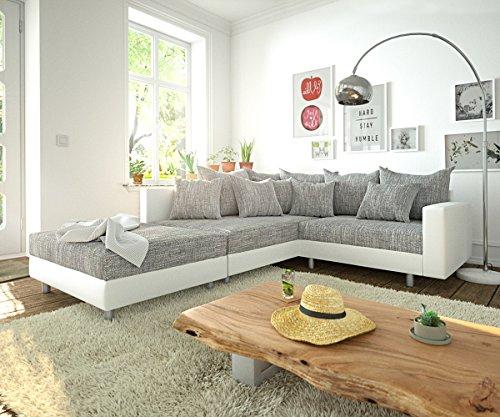 Sofa Clovis erweiterbares Modulsofa Eckcouch Wohnlandschaft (Ecksofa Links mit Hocker + Armlehne, Grau/Weiss)