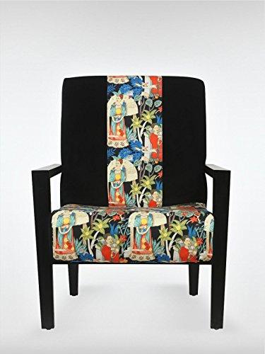 Vintage Loungesessel Sessel 70 x 73 x 90 cm Cocktailsessel schwarz - bunt aus Buchenholz roomeo24®