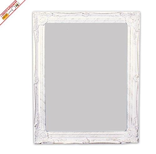 Wandspiegel im Antiklook aus Holz in weiß 37 cm x 47 cm inkl. unserem beliebten Aufhängeset