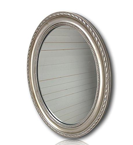 Wandspiegel oval in silber antik mit Patina 37 x 47cm   Spiegel barock aus Holz   im Landhausstil als Badspiegel   Schminkspiegel bzw. Frisierspiegel für das Landhaus