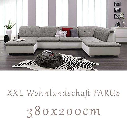 Wohnlandschaft, Couchgarnitur XXL Sofa, U-Form, weiss/grau, Ottomane rechts
