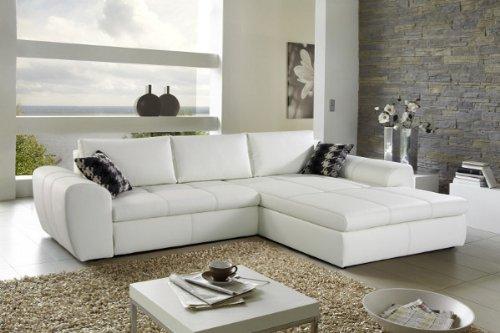 Wohnlandschaft SMOOTH in weiss inkl. Schlaffunktion Couch Sofa ausklappen Schlafcouch Schlafsofa