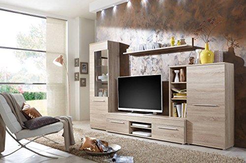 Wohnwand Wohnzimmerschrank Schrankwand TV-Element Anbauwand CANNES in Eiche Sonoma - Direkt vom Hersteller - Made in Germany