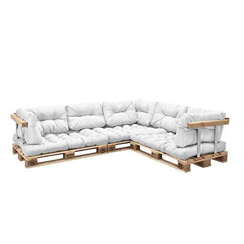 [en.casa] Euro Paletten-Sofa - DIY Möbel - Indoor Sofa mit Paletten-Kissen / Ideal für Wohnzimmer - Wintergarten (3 x Sitzauflage und 8 x Rückenkissen) Weiß