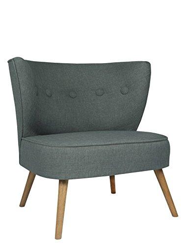 roomeo24® Designer Retro Sessel | BRENTWOOD | 80 x 77 x 72 cm (BxHxT) | Loungesessel in dunkelgrau