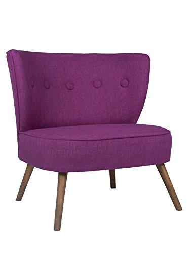 roomeo24® Designer Retro Sessel | BRENTWOOD | 80 x 77 x 72 cm (BxHxT) | Loungesessel in lila