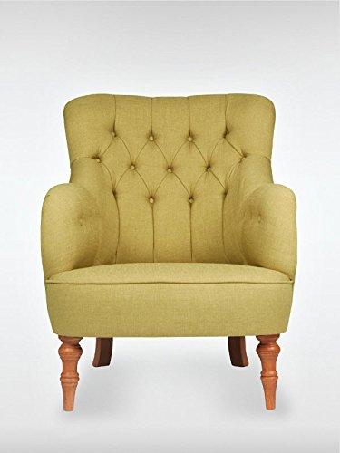roomeo24® Designer Retro Sessel | LELAND | 78 x 100 x 90 cm (BxHxT) | Loungesessel in almond-gruen