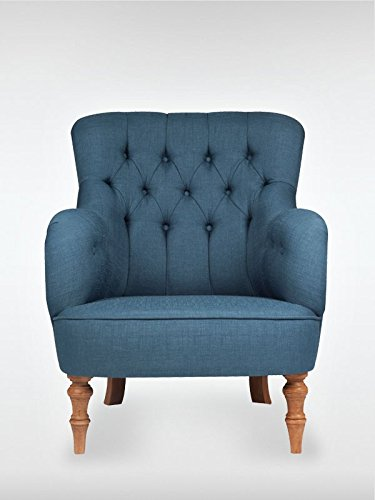 roomeo24® Designer Retro Sessel | LELAND | 78 x 100 x 90 cm (BxHxT) | Loungesessel in blau