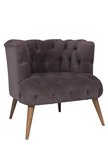 roomeo24® Designer Retro Sessel | PALO ALTO | 75 x 76 x 80 cm (BxHxT) | Loungesessel in samtgrau