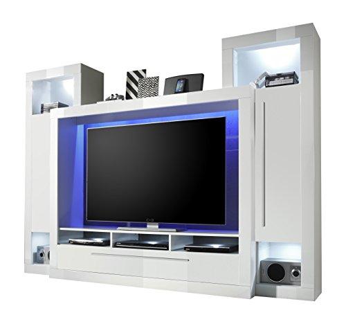 trendteam MX92101 Wohnwand TV Möbel weiss Hochglanz, BxHxT 239x172x40 cm