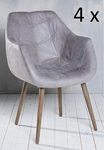4x armlehnenstuhl stuhl leder grau mit holzbeinen esszimmerstuhl echtleder esszimmersessel. Black Bedroom Furniture Sets. Home Design Ideas