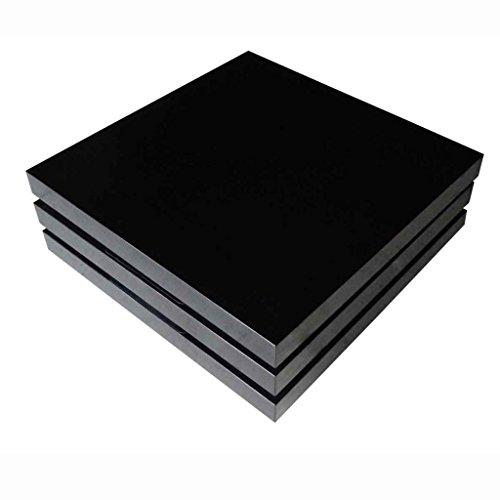 Anself Couchtisch Wohnzimmertisch Tisch mit 3 verstellbaren Ablageflächen Hochglanz Schwarz 80 x 80 x 30,5 cm
