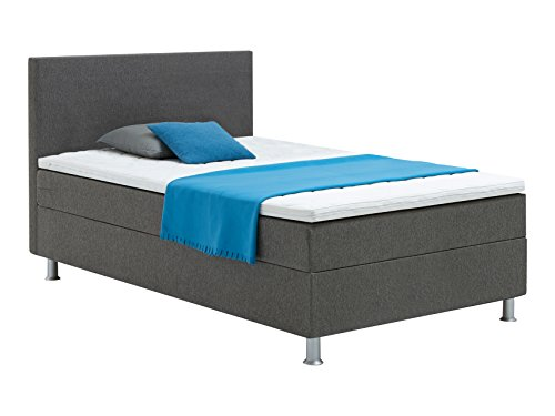 Atlantic Home Collection EDISON120 Boxspringbett 120 x 200 cm, Härtegrad H2, inklusive Topper, grau