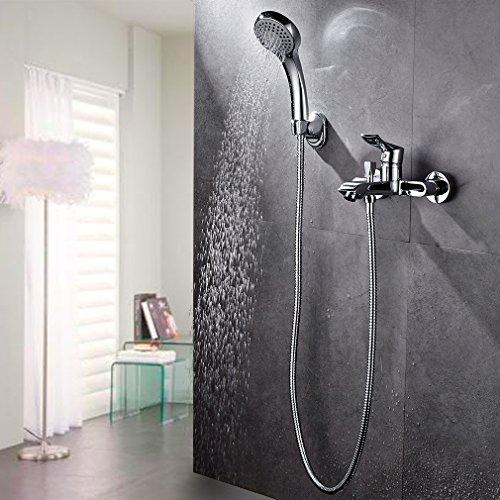 auralum duschsystem wand f r badezimmer und badewanne mit duscharmatur thermostat handbrause 2. Black Bedroom Furniture Sets. Home Design Ideas