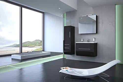 Bad11® - 3 teiliges Badmöbelset ZARIF - Hochglanz schwarz mit 70 cm Waschplatz mit Edelstahl Griffen und Mineralguss Waschbecken Schubfach Spiegelschrank Hochschrank mit zwei Schubfächern und Tür Farbauswahl
