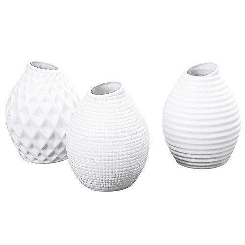 Boltze Porzellan-Vase 'Nova', Ø 10 x 13 cm, weiß (Modell zufällig, 1 Stück)