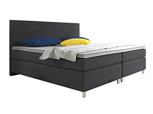 Boxspringbett BERLIN Hotelbett Amerikanisches Bett Designerbett 180x200 cm Webstoff Schwarz