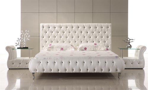 Designer Bett Am0W Weiß mit Kristallen - ALLE GRÖßEN (200x200 cm)