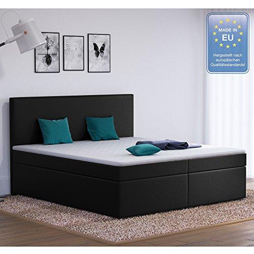 Designer Boxspringbett 180x200 Doppelbett Polsterbett Bett Hotelbett Stoff (schwarz 180x200)