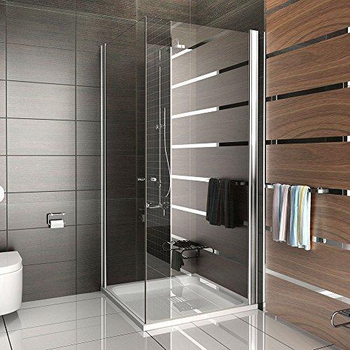Duschabtrennung Dusche Eckeinstieg Drehtür Duschkabine rahmenlose Dusche Kage 90x90 x 195 cm Klappbar