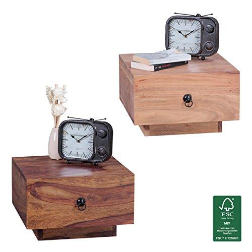 FineBuy Nachttisch Massiv-Holz Akazie Design Nacht-Kommode 25 cm hoch mit Schublade Nachtschrank Natur-Holz 40 x 40 cm Nachtkästchen dunkel-braun Deko Nachtkonsole Landhaus-Stil Schlafzimmer-Möbel