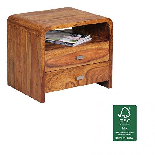 FineBuy Nachttisch Massiv-Holz Sheesham Nacht-Kommode 44,5 cm hoch 2 Schubladen Nachtschrank Echt-Holz Landhaus-Stil Nachtkästchen dunkel-braun Deko Nachtkonsole Natur-Produkt Schlafzimmer-Möbel