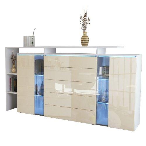 highboard sideboard lissabon in wei matt creme hochglanz m bel24. Black Bedroom Furniture Sets. Home Design Ideas