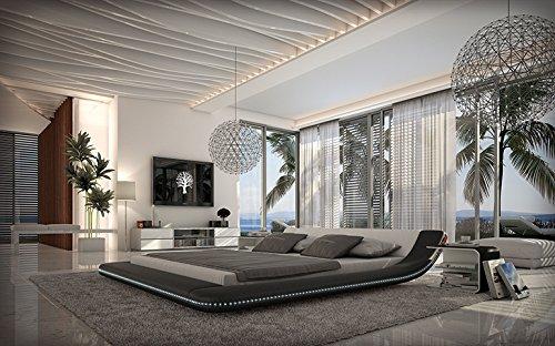 Innocent Designer Bett Custo 180x200cm Polsterbett Kunstleder mit LED-Beleuchtung schwarz weiß