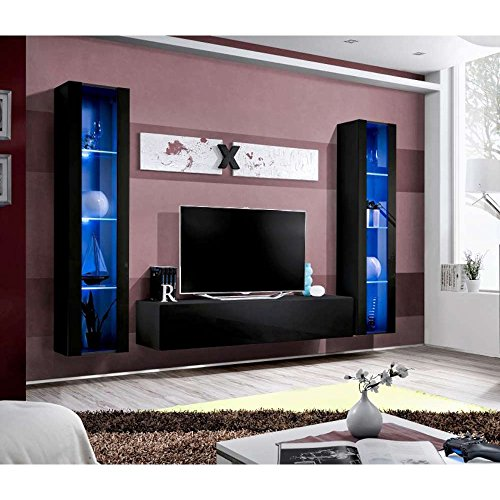 justhome air a ii wohnwand anbauwand schrankwand hxbxt 190x260x40 cm schwarz matt schwarz. Black Bedroom Furniture Sets. Home Design Ideas