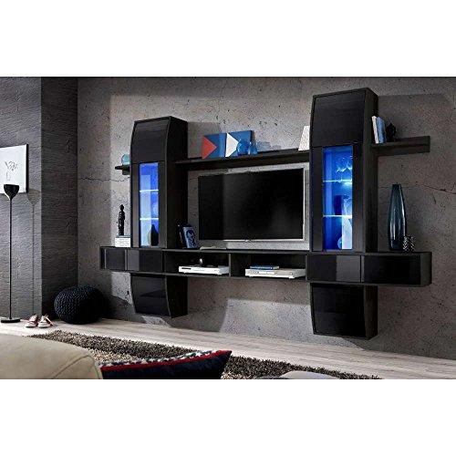 justhome comet i wohnwand anbauwand schrankwand hxbxt 187x307x40 cm schwarz matt schwarz. Black Bedroom Furniture Sets. Home Design Ideas