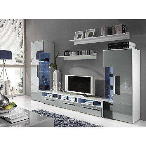justhome roma wohnwand anbauwand schrankwand farbe wei matt grau hochglanz 0 m bel24. Black Bedroom Furniture Sets. Home Design Ideas