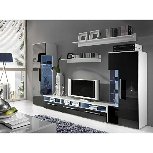 justhome roma wohnwand anbauwand schrankwand farbe wei matt schwarz hochglanz 0 m bel24. Black Bedroom Furniture Sets. Home Design Ideas