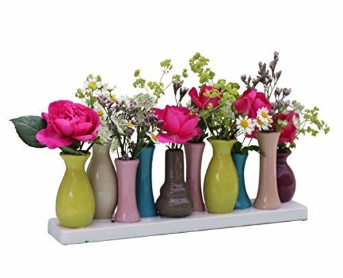 Keramikvasenset Blumenvase Keramikvasen bunt / weiß Vase Blumen Pflanzen Keramik Set Deko Dekoration (10 Vasen, bunt)