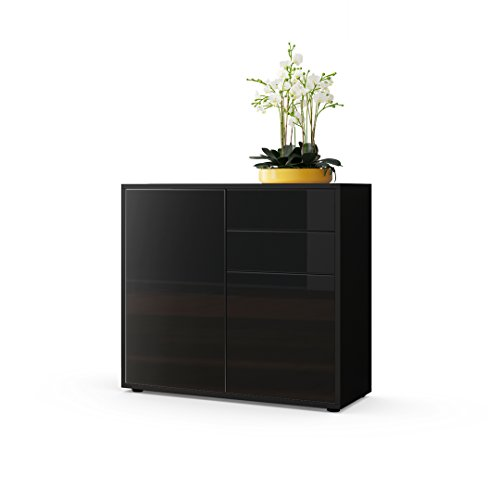 kommode sideboard ben korpus in schwarz matt fronten in schwarz hochglanz m bel24. Black Bedroom Furniture Sets. Home Design Ideas