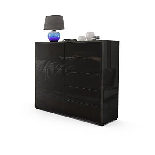 kommode sideboard ben v2 korpus in schwarz hochglanz fronten in schwarz hochglanz m bel24. Black Bedroom Furniture Sets. Home Design Ideas