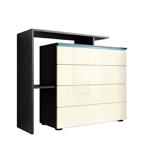 kommode sideboard lissabon v2 korpus in schwarz matt front in creme hochglanz m bel24. Black Bedroom Furniture Sets. Home Design Ideas