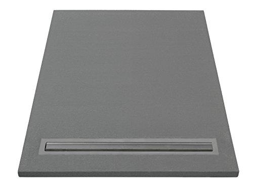 Lazer 372055 Duschwanne, zum Befliesen, mit Abfluss,, grau, 372055