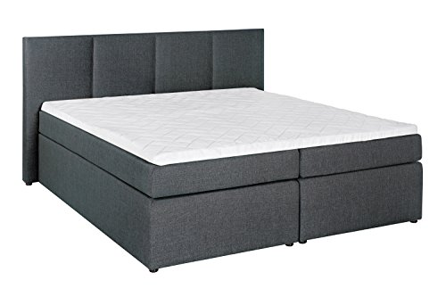 m belfreude boxspringbett kaz anthrazit 200x200 cm h3 doppelbett inkl lieferung ins. Black Bedroom Furniture Sets. Home Design Ideas
