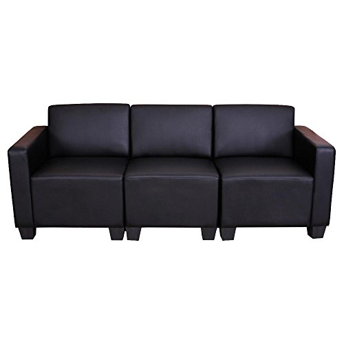 modular 3 sitzer sofa couch lyon kunstleder schwarz m bel24. Black Bedroom Furniture Sets. Home Design Ideas