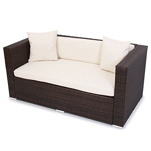 modulares poly rattan alu sofa romv braun meliert 2er sofa m bel24. Black Bedroom Furniture Sets. Home Design Ideas