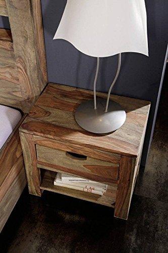 Palisander Massivholz Nachtkonsole Sheesham Holz Möbel Nature Grey #91