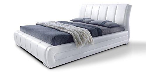 Polsterbett mit Lattenrost Designer Bett Danville weiß gesteppt Bettgestell Ehebett Doppelbett (180x200 cm)